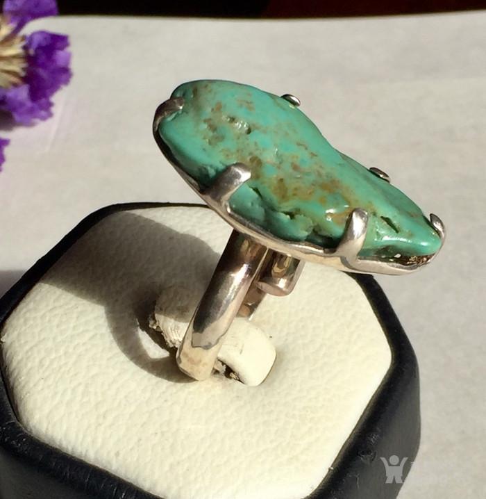 原汁原味的美国绿松石原石,原矿纯银戒指图1