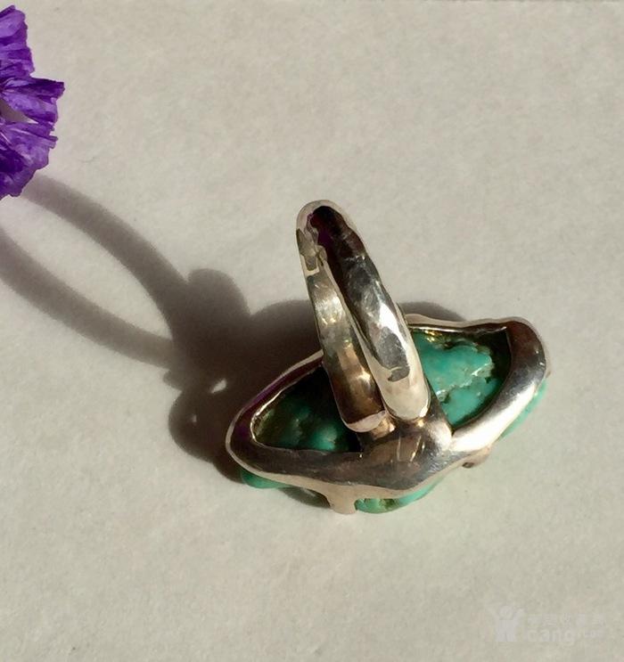 原汁原味的美国绿松石原石,原矿纯银戒指图3