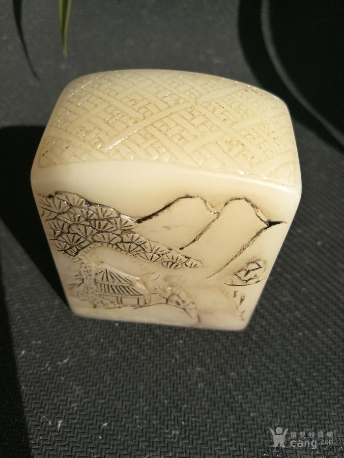 民国,沈尹墨作 寿山白芙蓉石 浮雕双面功素钮 闲章:225克图11