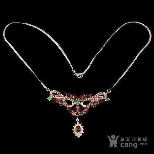 红宝石祖母绿银项链 天然红宝石祖母绿925银镀14K金项链图2