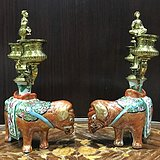 7252 民国 粉彩太平有象铜鎏金人物烛台