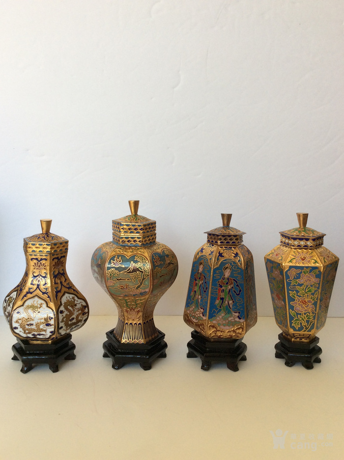 美国回流兴业坊 解放初期外销景泰蓝复古装饰瓶4件图2