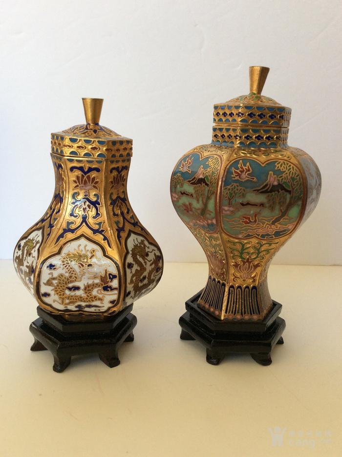 美国回流兴业坊 解放初期外销景泰蓝复古装饰瓶4件图3