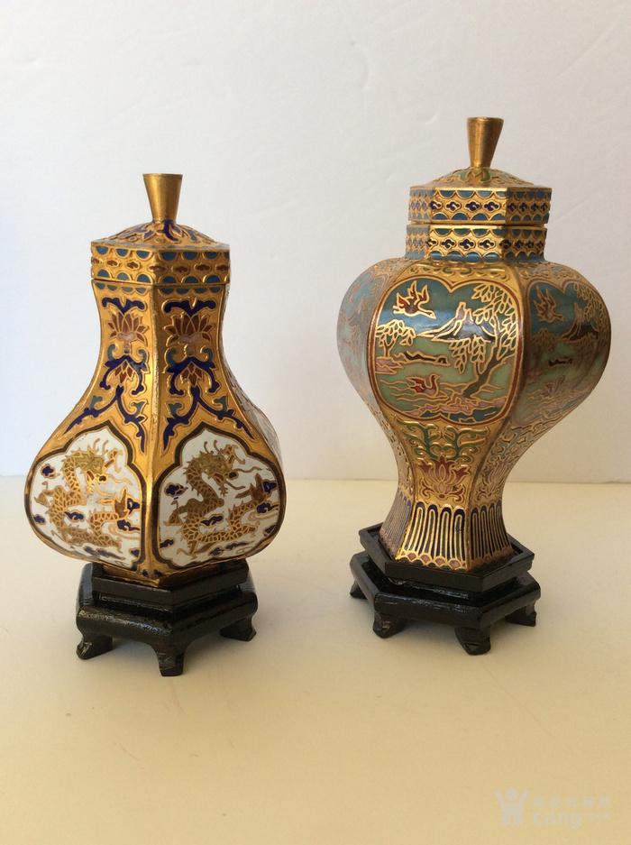 美国回流兴业坊 解放初期外销景泰蓝复古装饰瓶4件图4
