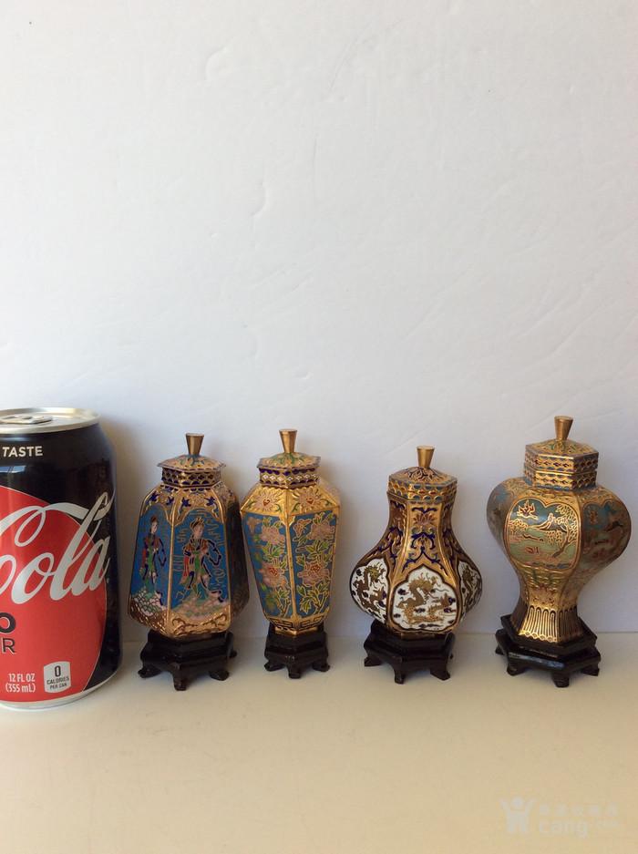美国回流兴业坊 解放初期外销景泰蓝复古装饰瓶4件图7