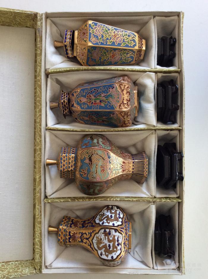 美国回流兴业坊 解放初期外销景泰蓝复古装饰瓶4件图1