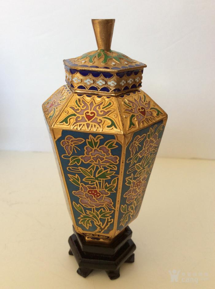 美国回流兴业坊 解放初期外销景泰蓝复古装饰瓶4件图10