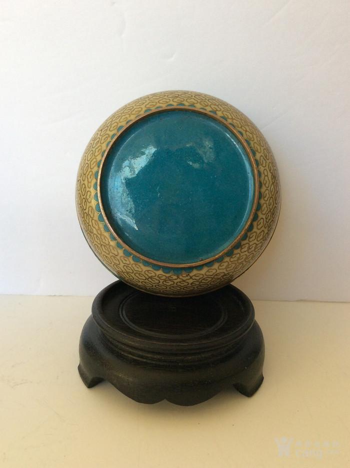 美国回流兴业坊 老景泰蓝圆盒一件带木座。-图3