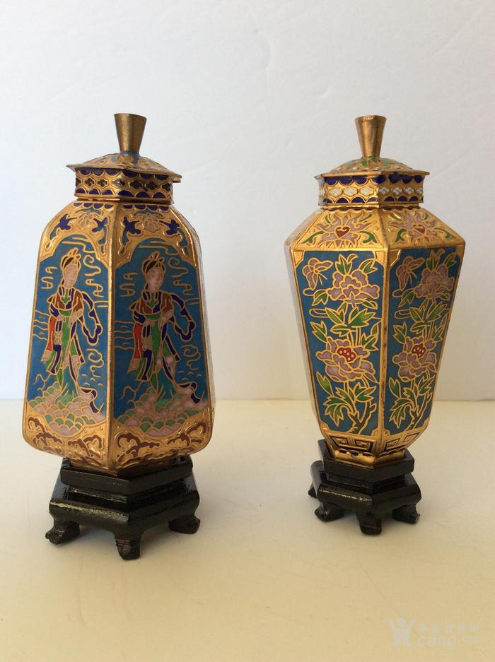 美国回流兴业坊 解放初期外销景泰蓝复古装饰瓶4件图5