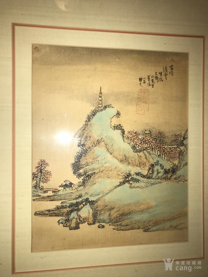 疑似清代画家邓涛绢本  古塔凌云图1