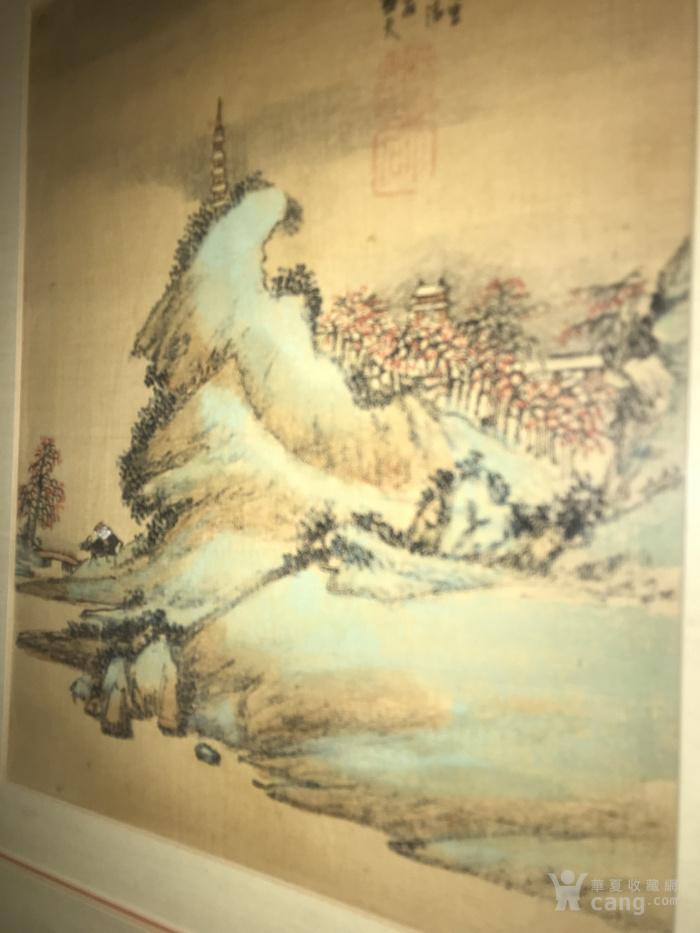 疑似清代画家邓涛绢本  古塔凌云图3
