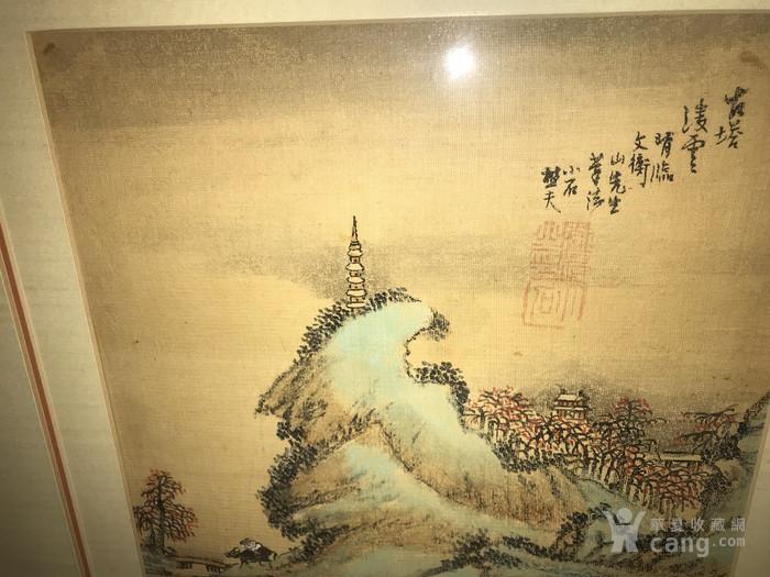 疑似清代画家邓涛绢本  古塔凌云图6