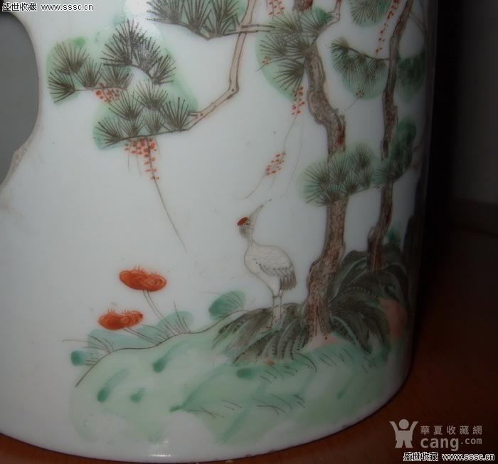 清末路慎庄画松鹤祝寿笔筒图3