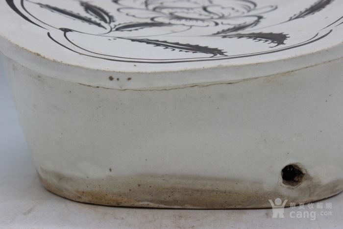 磁州窑白底黑花花卉如意枕图2