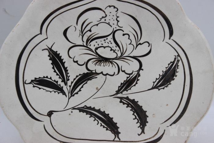 磁州窑白底黑花花卉如意枕图4