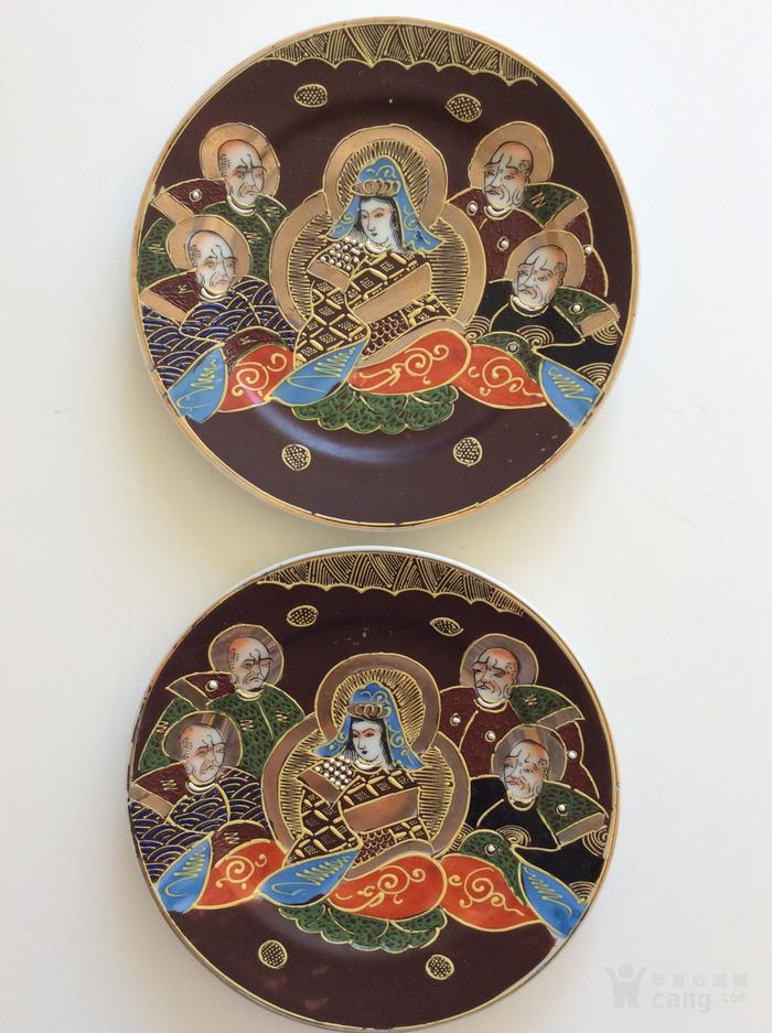 美国回流兴业坊 民国人物故事瓷盘二件 日本名瓷萨摩烧图1
