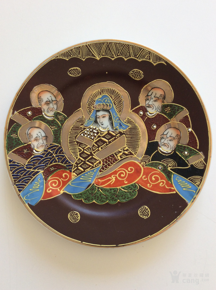 美国回流兴业坊 民国人物故事瓷盘二件 日本名瓷萨摩烧图2