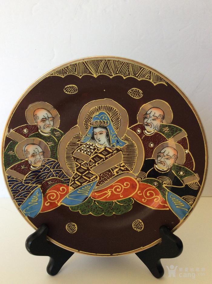 美国回流兴业坊 民国人物故事瓷盘二件 日本名瓷萨摩烧图4