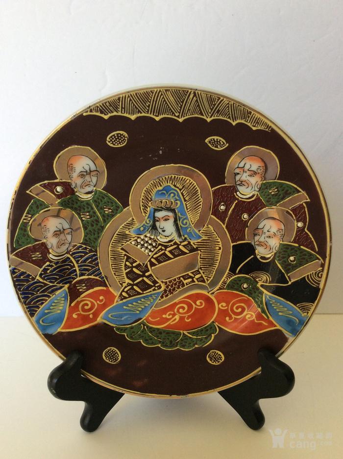 美国回流兴业坊 民国人物故事瓷盘二件 日本名瓷萨摩烧图5