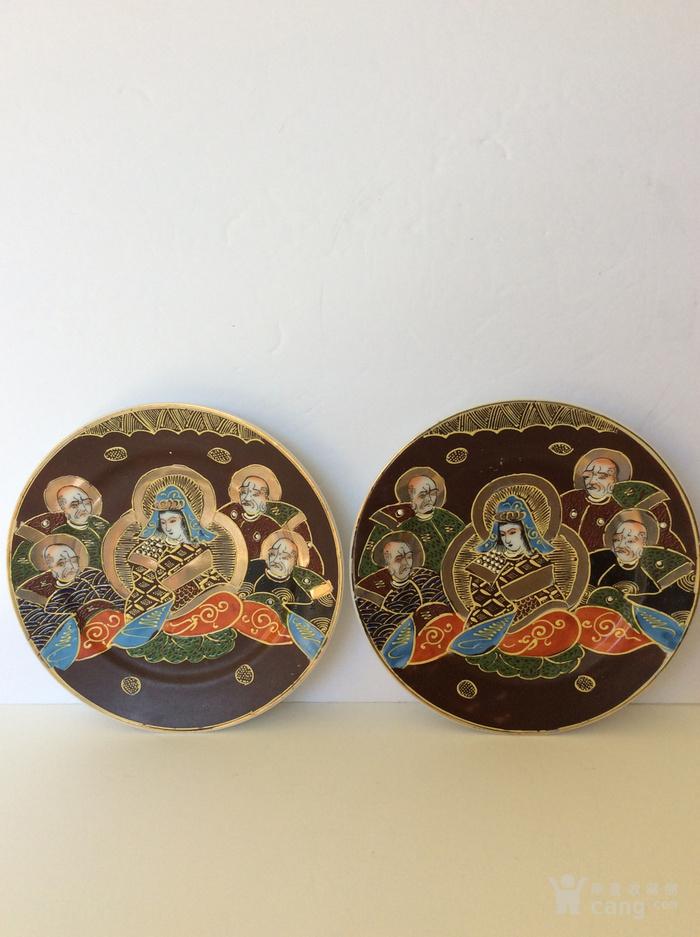 美国回流兴业坊 民国人物故事瓷盘二件 日本名瓷萨摩烧图7