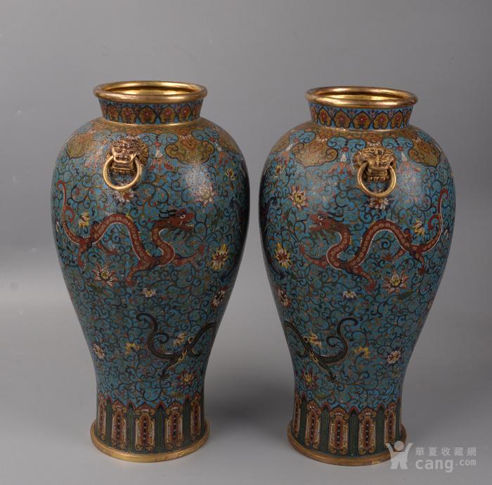 欧洲回流掐丝珐琅龙纹大花瓶图4