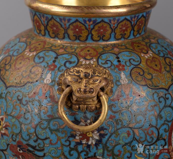 欧洲回流掐丝珐琅龙纹大花瓶图5