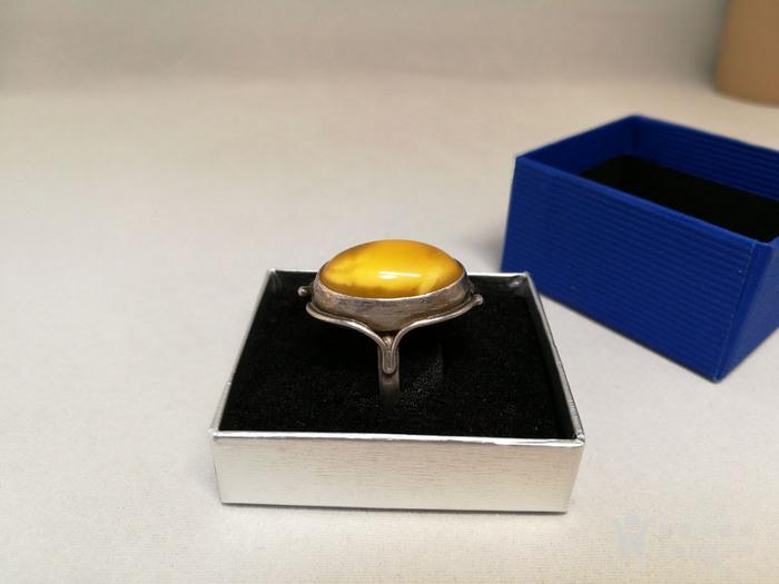 德国银镶天然老蜜蜡戒指 1930年代图2