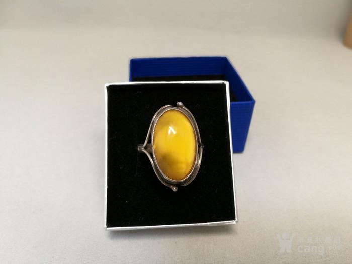 德国银镶天然老蜜蜡戒指 1930年代图3