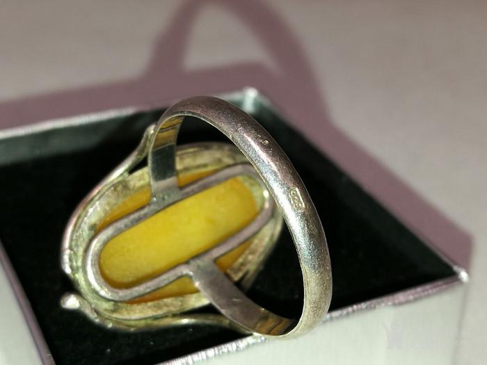 德国银镶天然老蜜蜡戒指 1930年代图4