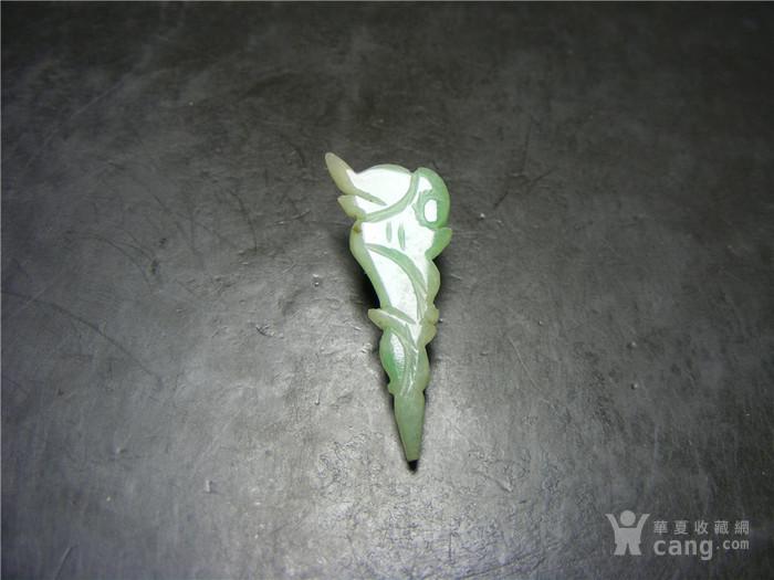 清代老坑糯米种翡翠圆雕龙头大簪子头图1