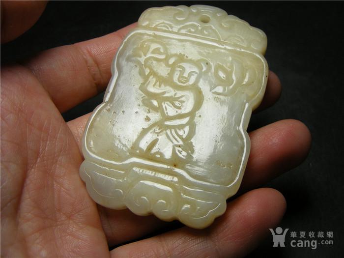 老坑A货白种翡翠带沁带棉双面工手工雕执灵芝童子福字大牌图4