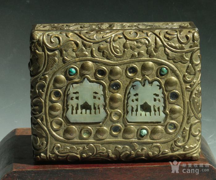 美国回流免费直邮 嵌玉 浮雕龙 铜盒图2
