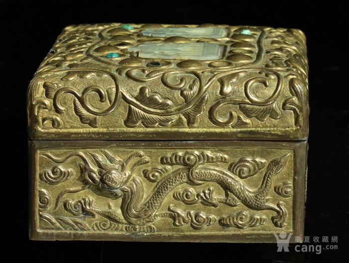 美国回流免费直邮 嵌玉 浮雕龙 铜盒图6