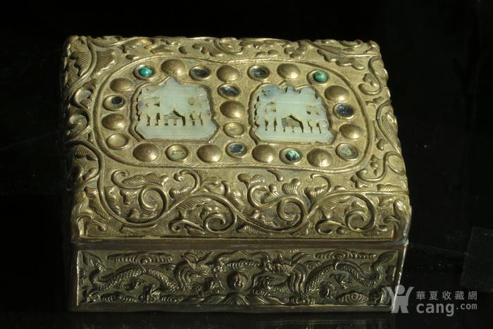 美国回流免费直邮 嵌玉 浮雕龙 铜盒图1