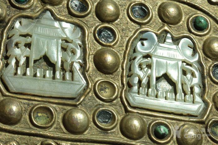 美国回流免费直邮 嵌玉 浮雕龙 铜盒图7