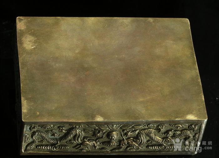 美国回流免费直邮 嵌玉 浮雕龙 铜盒图11