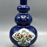 清光绪洒蓝釉描金开光花卉三层葫芦瓶