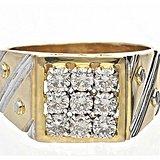欧洲绅士首饰14K黄白双金钻石豪华大气男士方戒指8g浑厚显贵