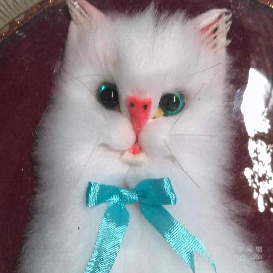漂亮,小白猫 绒制琉璃摆盘图8