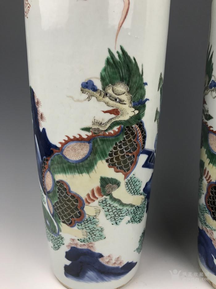 清代 青花五彩麒麟芭蕉纹筒瓶图6
