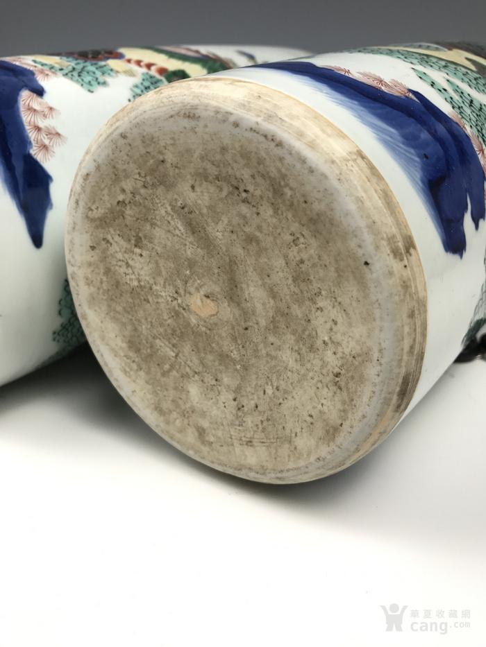 清代 青花五彩麒麟芭蕉纹筒瓶图8