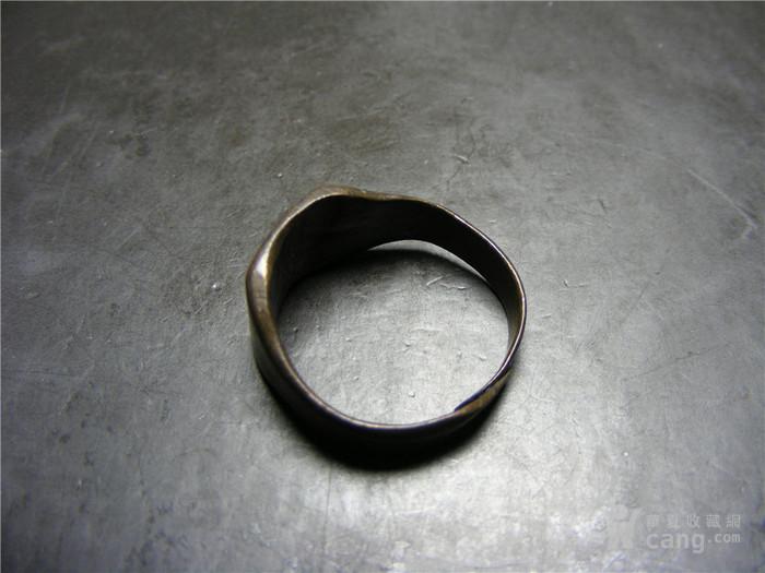 晚清 民国老黄铜收缩式素面大戒指图1