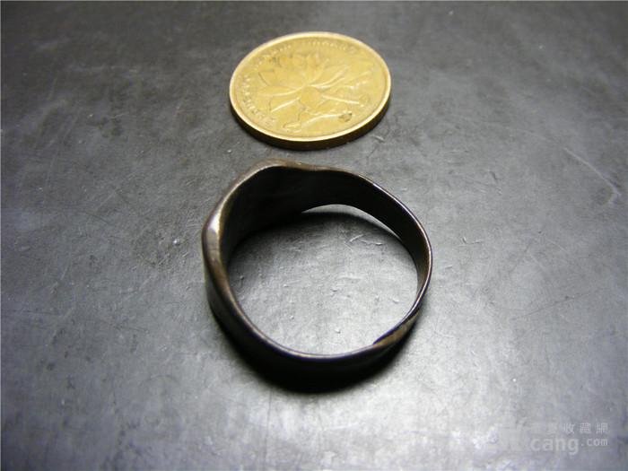 晚清 民国老黄铜收缩式素面大戒指图2