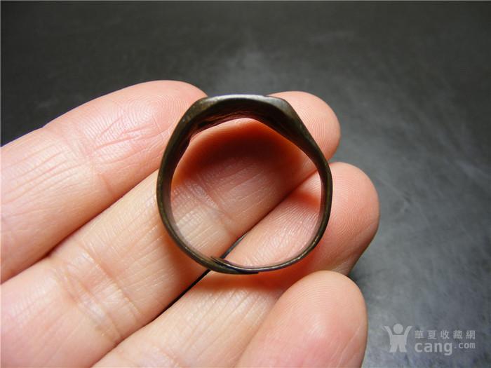 晚清 民国老黄铜收缩式素面大戒指图3