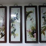 民国花鸟瓷板画四条屏