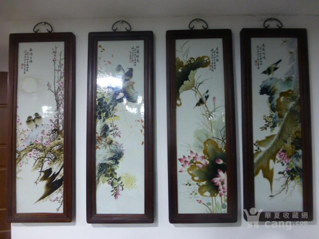 民国花鸟瓷板画四条屏图1