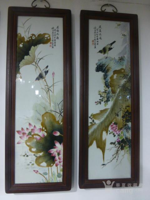 民国花鸟瓷板画四条屏图2