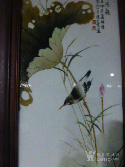 民国花鸟瓷板画四条屏图8