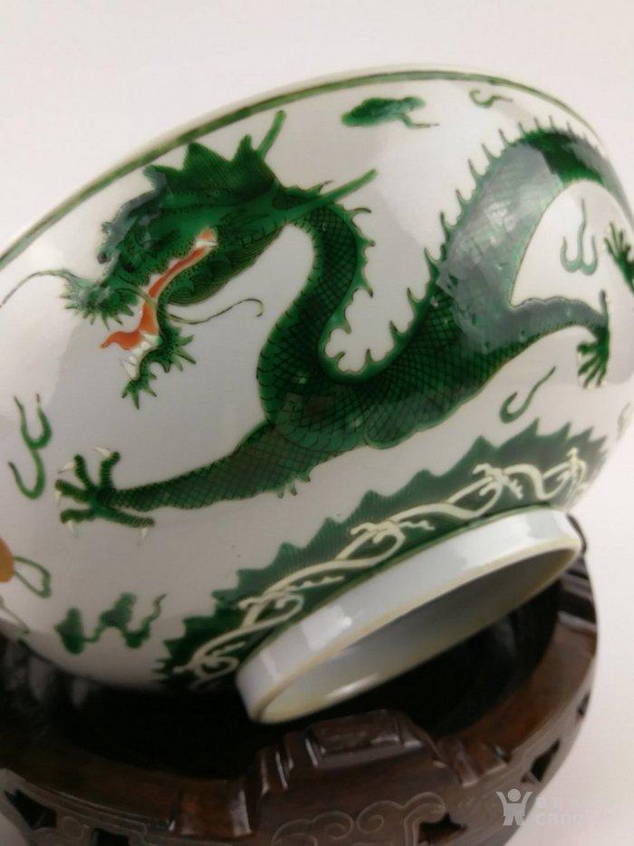 清道光 粉彩绿龙纹大海碗图8