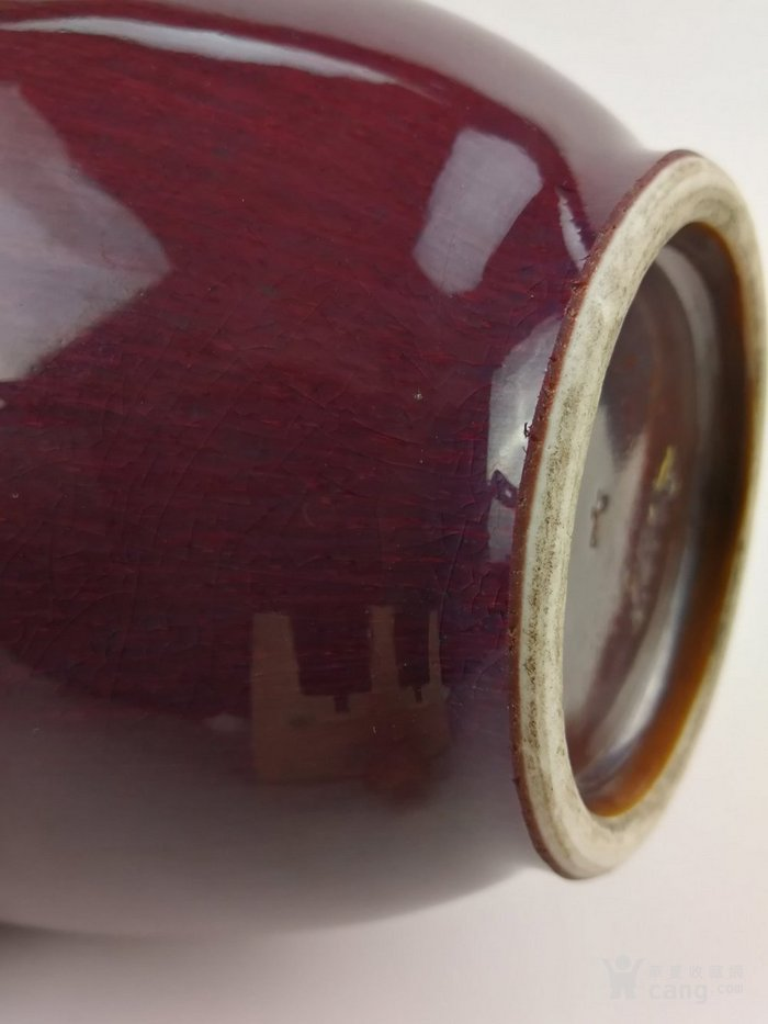 清乾隆晚期 嘉庆:仿钧玫瑰紫窑变釉大油锤瓶图9